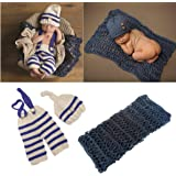 3 PCS Newborn Photography Prop Baby Hat Knitted Handmade Cover Diaper with Toddler Swaddle Blankets Wraps for Infant Boy Girl
