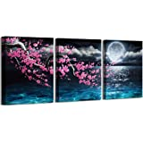 Canvas Art Wall Decor Framed Wall Art Plum Blossom Moon Ocean Art Prints Wall Decor for Bedroom Modern Wall Pictures for Bath