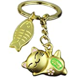 Cat Keychain Key Chains Ornaments Pendant Lucky Kitty Metal Gold