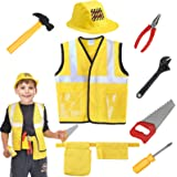 SATKULL Construction Worker Costume Role Play Kit Set Engineering Dress Up Gift 3 4 5 6 Year Kids Toddlers Boys Gifts Yellow