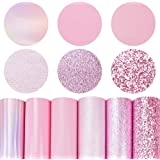6 Pieces/Set 8x12 Inch (21cm x 30cm) A4 Bundle Leather Sheets Mixed Pink Series Holographic Sparkle Fine Chunky Glitter Metal