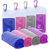 """Sukeen [4 Pack Cooling Towel (40""""x12""""),Ice Towel,Soft Breathable Chilly Towel,Microfiber Towel for Yoga,Sport,Running,Gym,Wor"""