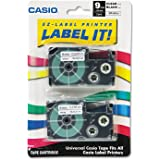Casio XR-9X2S Labelling Tape, Black on Clear, 9mm, Pack of 2