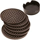 Enkore Coasters Set of 6 with Holder, Espresso Brown - Protect All Types of Furniture Surface from Water Damage and Scratch -