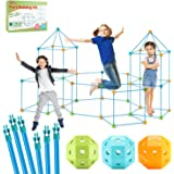 HIFFUN-1 Fort Building Kit for Kids,132pcs Construction Stem Playhouse Indoor and Outdoor Play Tent (132PCS -Blue)