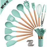 Silicone Kitchen Utensil Set, Cooking Spatulas Soup Ladle Slotted Spoon Turner Pasta Server Basting Brush Tongs Whisk Wooden