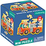 "Mudpuppy Fire Truck Shaped Mini Puzzle, 24 Pieces, 6"" x 6"" – Die-Cut Mini Jigsaw Puzzle in the Shape of a Fire Truck Driven b"