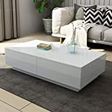 Coffee Table High Gloss 4 Drawers Storage Cabinet Wood Living Room Furniture White 120CM