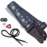 KLIQ Music Gear Vintage Woven Guitar Strap For Acoustic And Electric Guitars | '60S Jacquard Weave Hootenanny Style | 2 Rubbe