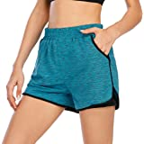 Sprifloral Women's Quick-Dry Workout Sports Active Running Shorts 2 in 1 Yoga Shorts