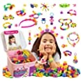 TS YUNIKU Jewelry Making Kit for Kids - Glow in The Dark Pop Beads, Arts & Crafts Supplies - 550 Pieces, Set for DIY Bracelet