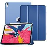 ATiC iPad Pro 11 ケース Apple New iPad Pro 11 2018タブレットカバー Apple Pencil収納 半透明 3つ折スタンド 磁気 ペンスロット付き オートスリープ機能 超薄型 軽量 タブレット保護ケース カバー NAVL BLUE