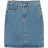 chouyatou Women's Basic Five-Pocket Rugged Wear Denim Skirt with Slit