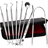 MOTYYA Dental Tools 8pcs, Professional Teeth Hygiene Kit Stainless Steel Dental Pick Cleaning Set,Tongue Scraper,Tooth Scaler