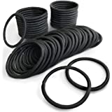 (PETIT AMORE) ヘアゴム リングゴム 大容量 50本セット 結び目・接合なしタイプ 太さ 4mm リッチブラック