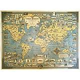 FLOATING WOOD 世界 地図 ポスター きれいにはがせる両面テープ付属 アンティーク 英語 アメリカ イギリス 中心 レトロ インテリア 壁紙 ヴィンテージ (イギリス中心の世界地図)