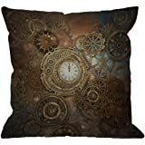 HGOD DESIGNS Steampunk Throw Pillow Cover,Rusty Steampunk with Clock and Different Gears Metal Machine Gold Bronze Decorative