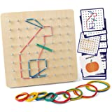 Coogam Wooden Geoboard Mathematical Manipulative Material Array Block Geo Board – Graphical Educational Toys with 30Pcs Patte