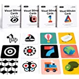 beiens High Contrast Baby Flashcard, 80 PCs 160 Page Black White Colorful Visual Stimulation Learning Activity Card for Babie