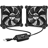 iPower Silent Dual 120mm USB Fan with Speed Controller for Indoor Plant Stand Shelf Ventilation Circulate Air, Black