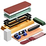 Complete Knife Sharpening Stone Set, 4 Side Grit 400/1000 3000/8000 Whetstone, Bamboo Base Flattening Stone Angle Guide, Leat