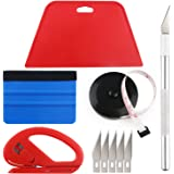 Wallpaper Smoothing Tool Kit Include Black Tape Measure,red Squeegee,Medium-Hardness Squeegee,snitty Vinyl Cutter and Craft K