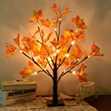 Artificial Fall Lighted Maple Tree 24 LED Thanksgiving Decorations Table Lights Battery Operated for Thanksgiving Wedding Par