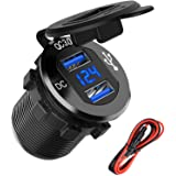 Quick Charge 3.0 Dual USB Charger Socket, SunnyTrip Waterproof Aluminum Power Outlet Fast Charge with LED Voltmeter & Wire Fu