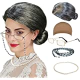 QNPRT Old Lady Cosplay Set - Grandmother Wig, Wig Cap,Madea Granny Glasses, Eyeglass Chains Cords Strap, Pearl Beads