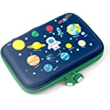 Rockpapa The Planets Pencil Case for Kids Boys, Armstrong Satellite Rocket Alien Pencil Box for Students School Navy Blue