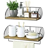Alsonerbay Bathroom Wood Shelves with Towel Bar Set of 2, Wall Mounted Floating Storage Shelf, Rustic Solid Wooden Decor for