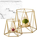 Le Sens Amazing Home Large Brass Gold Metal Pillar Candle Holders Set of 2, 4.7/6.2 inches, Geometric Elegant Tealight Holder