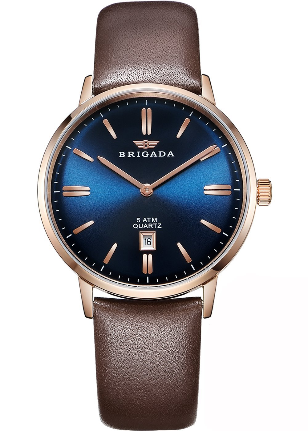 7c3045e1d679 Brigada Men's Watch Coffee Brown Watch Band, Genuine Leather, Adult,  Quartz, Business, Simple, Wristwatch, coffee color