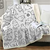 Sviuse Cat Blanket Kids Throw Blanket Cute Animals Pet Pattern Sherpa Blanket for Girls Bed Couch Chair Kawaii Cat Lover Gift