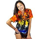 Funky Hawaiian Blouse, Beach, Orange, XXL