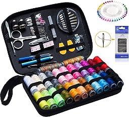 YOOSUN 裁縫セット 携帯式 ソーイングセット 24種カラー鮮やかな縫い糸 146個携帯式高質量ミシンアクセサリー プロ裁縫道具 老人用 家庭用 大人用 旅行用