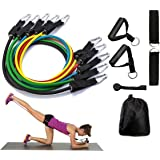 Resistance Band Set 11 Pieces with Exercise Tube Bands, Door Anchor, Ankle Straps and Carry Bag