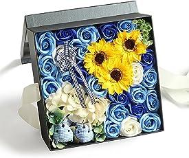 Yobansa 造花 高級石鹸の花のギフトボックス フレグランス ソープフラワー プレゼント 石鹸 ひまわり 枯れない 花 結婚祝い 誕生日 母の日 父の日 定年祝い 還暦祝い 新築祝い 送別会 メッセージカード付き