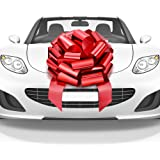 Mata1 Huge Car Bow (Red, 18 inch, 1 Pack), Big Gift Wrapping Bow for Large Gift Decoration, Giant Indoor/Outdoor Bow with 2 R