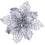 """24 Pcs Christmas Silver Glittered Mesh Holly Leaf Artificial Poinsettia Flowers Picks Tree Ornaments 5.9"""" W for Silver Christ"""