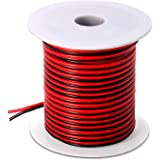 100FT 18 AWG Gauge Electrical Wire, DC 12V Hookup Red Black Copper Stranded Auto 2 Cord, Flexible Extension Cable with Spool