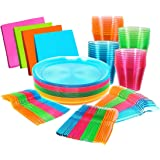 "Bright Neon Party Supplies Set - Serves 32 Guest, Includes Plates 9"", Cups Tumblers 9 Oz, 96 Cutlery, Forks Knifes and Spoons"
