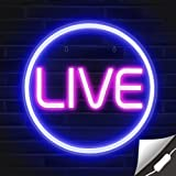 Lumoonosity LIVE Neon Signs - LED Live On Air Neon Lights for Twitch, Tiktok, Youtube Streamers/Influencers/Gamers - Cool Liv
