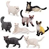 Toymany 8PCS Small Black White Cat Figurines, Realistic Educational Cat Figures Toy Set, Kitten Easter Eggs Cake Topper Chris