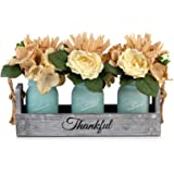 GBtroo Mason Jar Table Centerpieces for Dining Room - Coffee Table Decor Centerpiece with 3 Mason Jars and Flowers - Farmhous