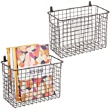 mDesign Portable Metal Farmhouse Wall Decor Storage Organizer Basket Bin with Handles for Hanging in Entryway, Mudroom, Bedro