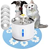Petite Cat Water Fountain, Pet Fountain Dog Water Dispenser, 2.4L Water Capacity with Stainless Steel Top, Bonus 5 Replacemen