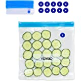 VICARKO 30 Vacuum Zipper Bags, Vacuum Sealer Bags, Food Storage, Reusable Bags, with Double Layers, BPA Free, Gallon Size, 13