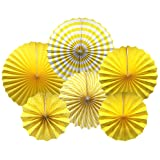 Party Hanging Paper Fans Set, Yellow Round Pattern Paper Garlands Decoration for Birthday Wedding Graduation Events Accessori