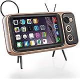 レトロなブルートゥーススピーカー、レトロなテレビモデリング携帯電話ホルダースピーカー、携帯スタンド機能パワーバンク、2で1創造的な4.7〜5.5インチの画面 iPhone 6, 6s, 7, 8/Android対応(黒)